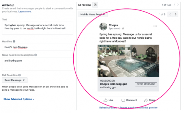 Annonce click-to-messenger pour