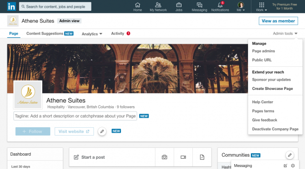 linkedin showcase page setup