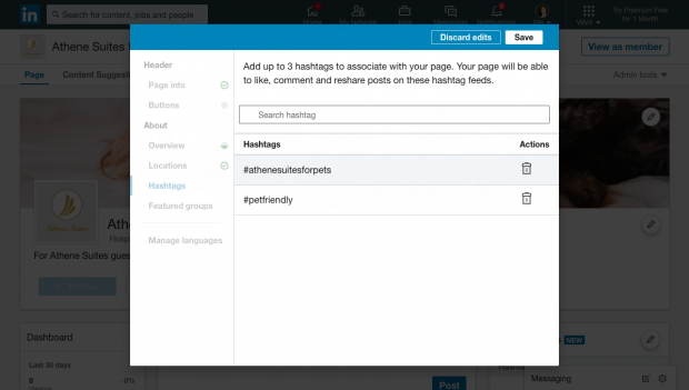 adding hashtags to linkedin showcase page