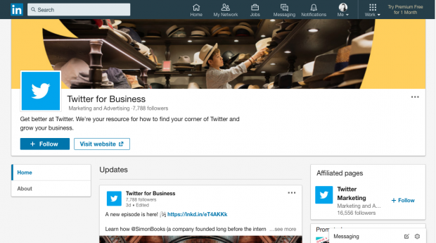 Twitter for Business showcase page