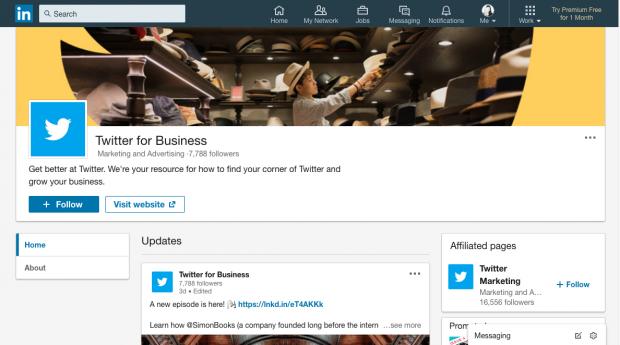 Page vitrine Twitter pour les entreprises