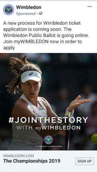 Wimbledon Facebook lead generation ad 1