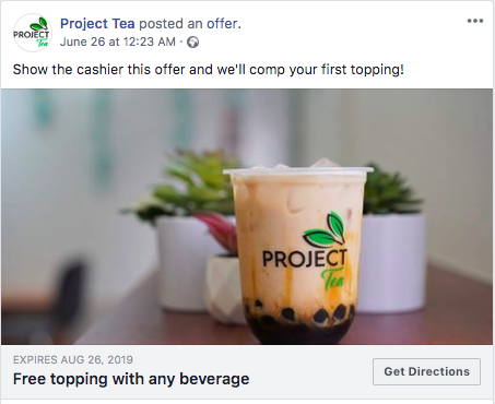 Project Tea Facebook offer ad 1