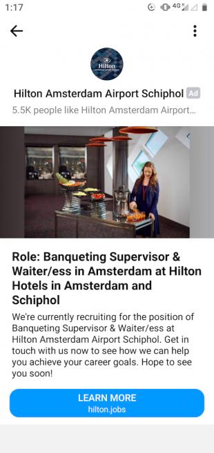 Hilton Facebook Messenger ad