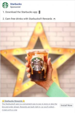 Starbucks' Facebook app install ad example
