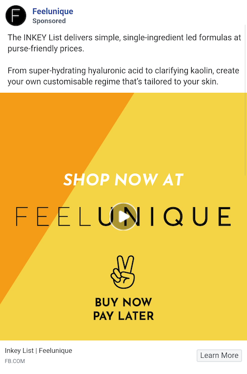 Facebook instant experience ad from FeelUnique