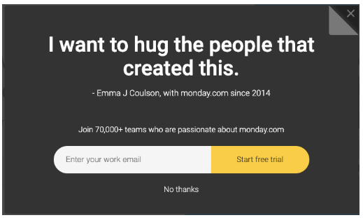 "Testimonial for Monday.com's email newsletter sign up: ""I want to hug the people that created this"""