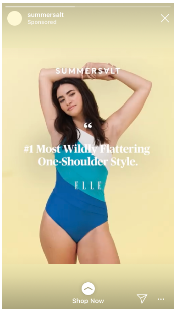Instagram Story of Summersalt swimsuit with a quote from Elle Magazine