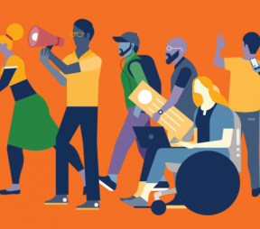 Illustration of a group of employees holding social media icons and walking together in the same direction