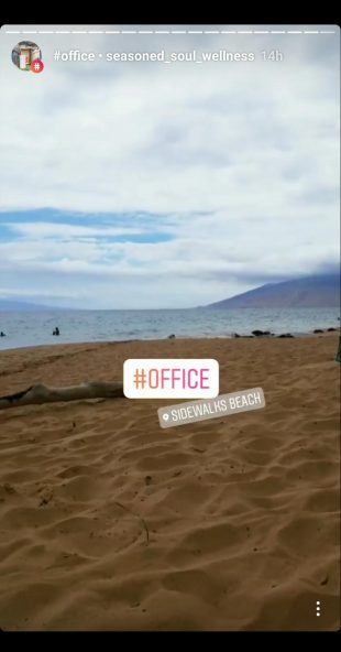 Instagram Story of a beach with hashtag office