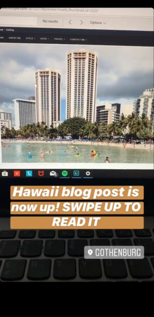 Instagram story directing to blog post
