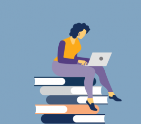 Illustration of a woman studying on a laptop while sitting on a stack of giant books