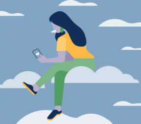 Illustration of a women on her phone sitting on a cloud