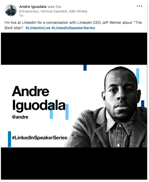 Andre Iguodala LinkedIn post en direct