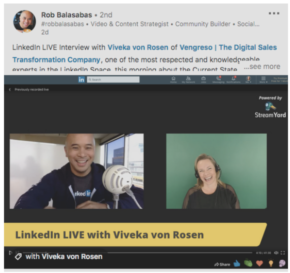 Rob Balasabas LinkedIn live post