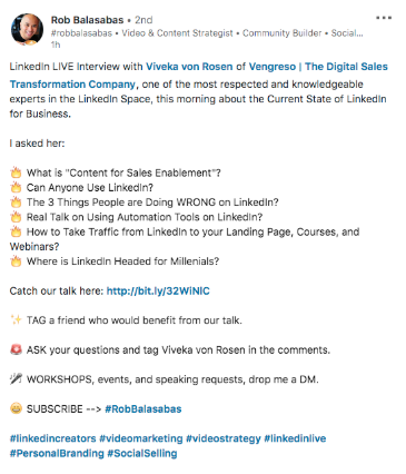 Description de la vidéo de Rob Balasabas LinkedIn Live