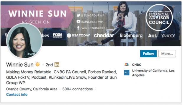 Winnie Sun LinkedIn profile