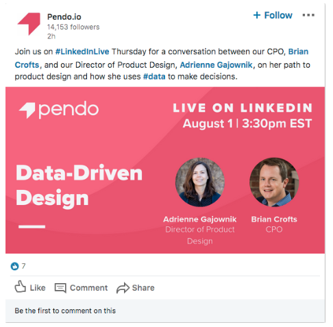 Pendo.io LinkedIn Live video thought leadership