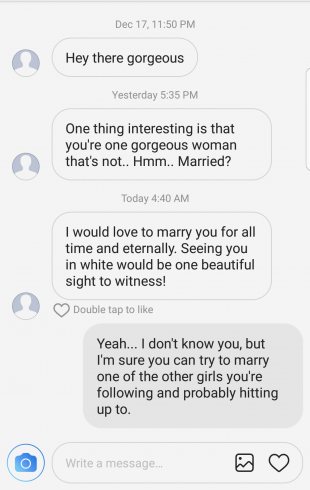 awkward DM exchange (marriage proposal from a stranger)