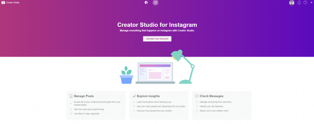creator studio for instagram dashboard