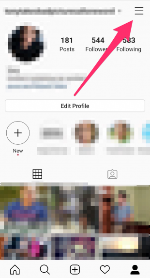 Hamburger menu in top left of Instagram profile