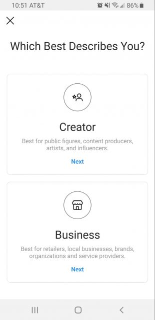 instagram creator account vs business profile