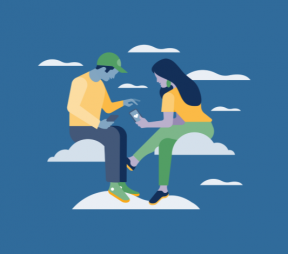 Illustration of two people looking at Instagram in the clouds