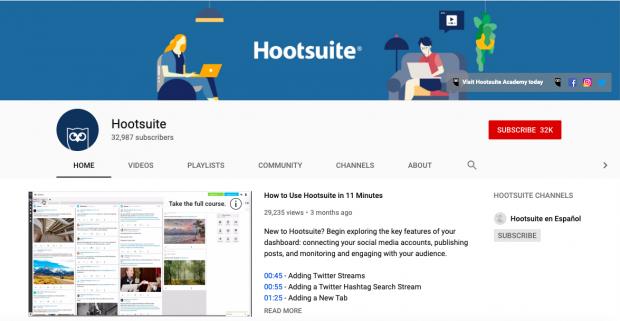 Art de la chaîne YouTube de Hootsuite