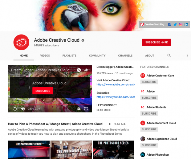 Adobe YouTube home page