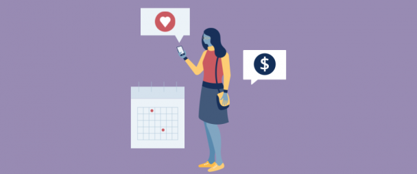 Illustration of a woman looking at Instagram on her phone with a large dollar sign behind her