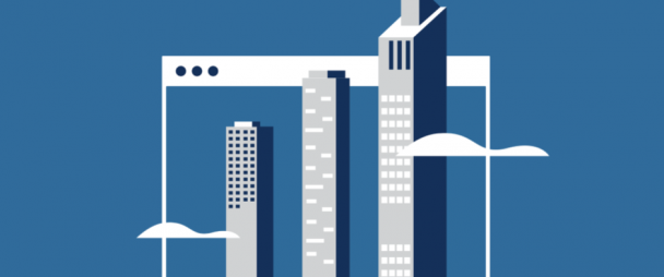 Illustration of skyscrapers on a Facebook ad