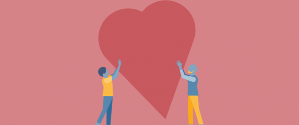 Illustration of two people holding a giant heart
