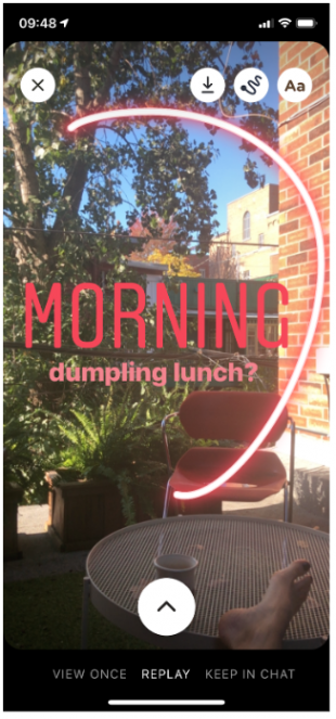 "Instagram Threads photo of patio with text: ""MORNING. Dumpling lunch?"""