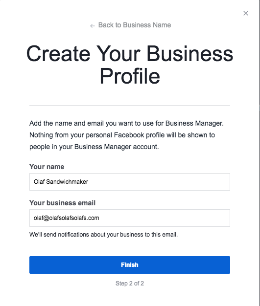 "Create Your Business Profile step 2 with fields ""Your Name"" and ""Your Business Email"""