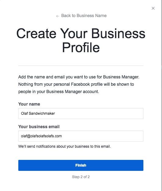 Créez votre profil d'entreprise étape 2 avec des champs