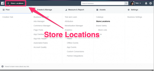 """Store Locations"" button highlighted in Business Manager dashboard"
