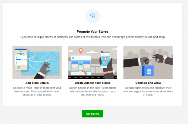 """Promote Your Stores"" page with 3 options: Add Store Details, Create Ads for Your Stores, Optimize and Grow. Green ""Get Started"" button."