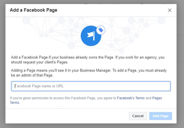 Ajouter une invite de la page Facebook pour ajouter le nom ou l'URL de la page Facebook