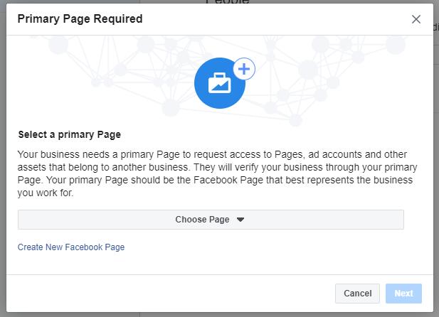 Page principale Avis requis, option pour ajouter une page primaire