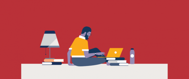 Illustration of a man studying with a laptop surrounded by books