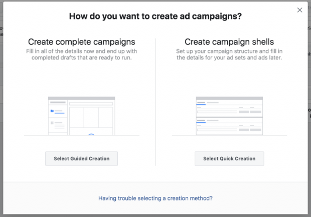 "Dialog in Instagram ad manager that shows 2 options ""Create complete campaigns"" or ""Create campaign shells"""