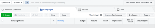 "Facebook ads manager dashboard open to Campaigns tab. Green ""Create"" button is in top left corner."