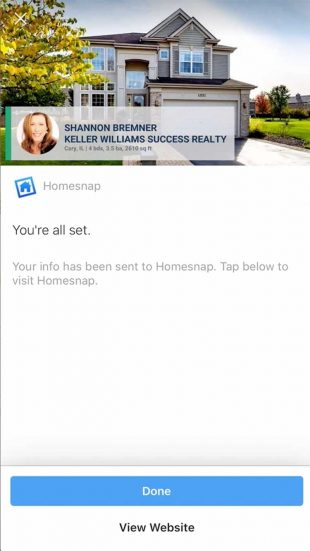 Instagram lead ad by Homesnap