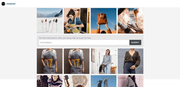 Page you land on after clicking on Madewell's link-in-bio: multiple instagram posts and email newsletter sign yo