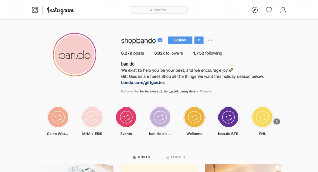 Bando Instagram profile with custom link-in-bio