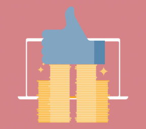 Illustration of a giant Facebook Like icon (thumbs up) on top of a pile of coins in front of a laptop screen