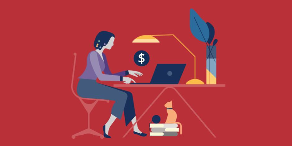 Illustration of woman typing on a laptop at a desk with a cat underneath sitting on some books and a dollar sign hovering above the computer