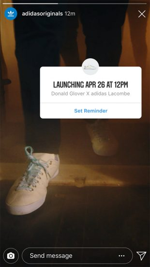 "Adidas Instagram product launch sticker on a Story for ""Donald Glover x adidas Lacombe"" with prompt to ""Set Reminder"""