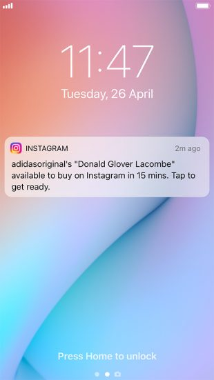 "Instagram notification for launch of ""Donald Glover X adidas Lacombe"""