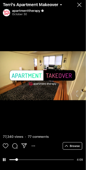 IGTV video from the series Apartment Takeover by Apartment Therapy